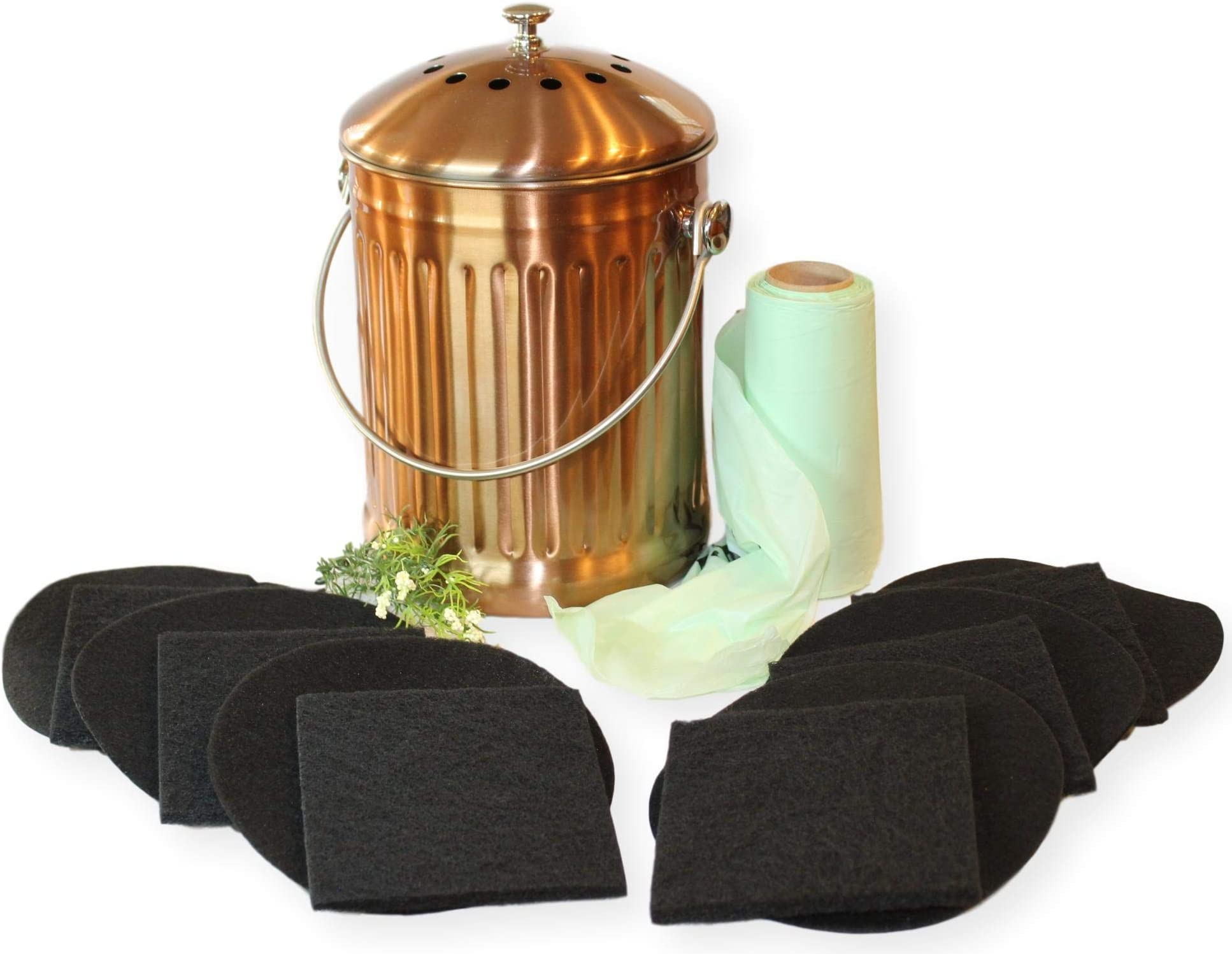 Gardenatomy Copper Kitchen Compost Bin Indoor Countertop – LARGE 1.3 Gallon Food Scrap Container, Leak proof Stainless Steel with Copper - Includes 1 Year's Worth of Dual Charcoal Filters & Liner Bags