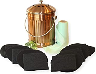 Copper Compost Bucket for Kitchen Counter Top – LARGE 1.3 Gallon Food Scrap Container, Leak proof Stainless Steel with Copper Plating - Includes 1 Year's Worth of Dual Charcoal Filters & Compost Pa