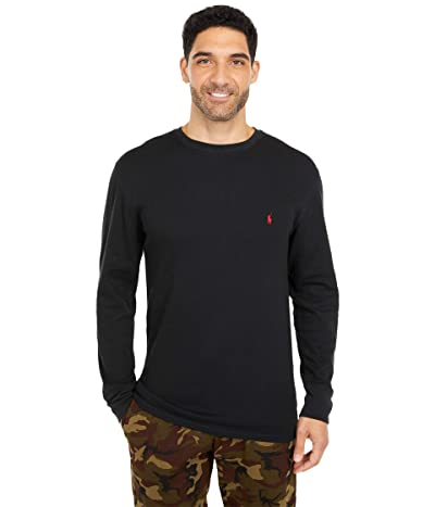 Polo Ralph Lauren Big Midweight Waffle Long Sleeve Crew (Polo Black/RL2000 Red Pony Player) Men