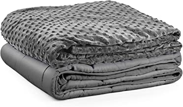Premium Kids Weighted Blanket & Removable Cover-Dulcii 7 lbs Grey Weighted Blanket with Dotted Minky Duvet Cover|for a Chi...