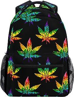 Abstracto Cannabis Marihuana Hoja Colorida Mochila Escolar Unisex Colección Bolsa de Lona Mochila