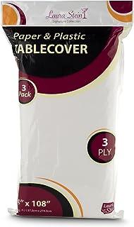 أغطية طاولات بيضاء من الورق والبلاستيك أحادية الاستخدام من لورا شتاين، 3 طبقات، 137 سم × 274 سم، عبوة من 3 قطع
