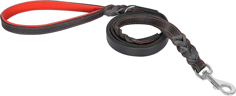 Riparo correa de cuero trenzado de perro con 2 asas, acolchado de tráfico de la manija, la formación de perros correas de paseo para perros medianos y grandes (Hilo Negro/Rojo, L: 1,9 cm x 1,8 m)