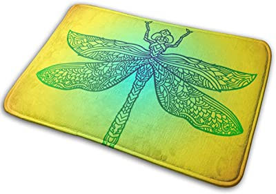 Decorative Doormat Home Decor Blue Dragonfly in Mandala Style Stylized Insect Welcome Indoor Outdoor Entrance Bathroom Floor Mats Non Slip Washable Mat, 23.6 x 15.7 inch