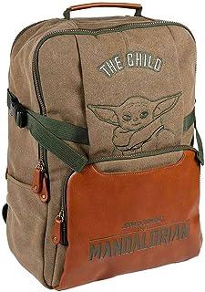 Mochila Casual Baby Yoda The Mandalorian-Licencia Oficial Star Wars para Hombre, Gris, Verde