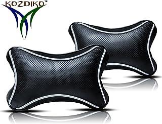 Kozdiko Black Cushion Pillow Dotted Car Neck Rest Set of 2 Pcs