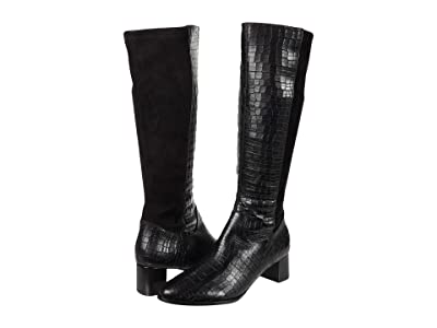 Trotters Kirby (Black Croco Leather) Women