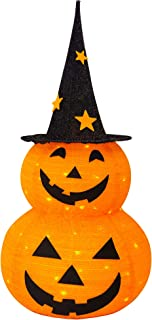 FUNPENY 3FT Halloween Collapsible Pumpkin Decorations, Pre-Lit Light Up 50 LED Pumpkin with Star Hat 8 Lighted Mode, Pop U...