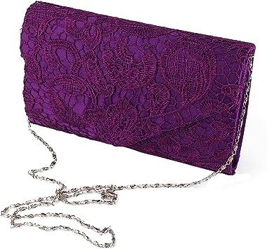 Jian Ya Na Damen Kupplungs-Geldbeutel-Handtasche Elegante Blumen Spitze-Abend-Beutel-Umschlag-Entwurf für Hochzeit Prom Cockt