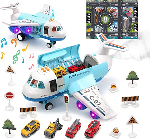 wholesale Toy Airplane Plane wholesale Toy with Smoke, Sound and Light, Fricton Powered Airplane with lowest Mini Cars, Birthday Gift for 2+ Year Old Boys and Girls online