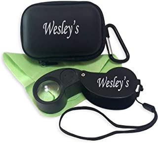 40X Jeweler's Loupe - Jewelry Loop Magnifier - Loop Magnifier with Case, LED and UV Illuminated for Gardening Kids, Stamp and Coin Collecting, Geology, by Wesley's as you wish