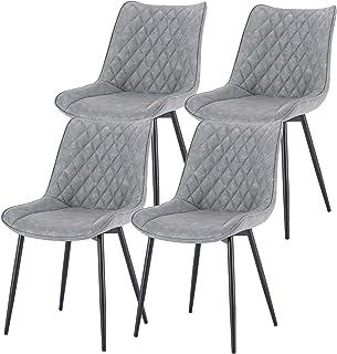 eSituro Pack 4 Moderna Silla de Comedor de Cuero Sintético Silla Nordicas de Cocina Salón Oficina Vintage Silla Tapizada
