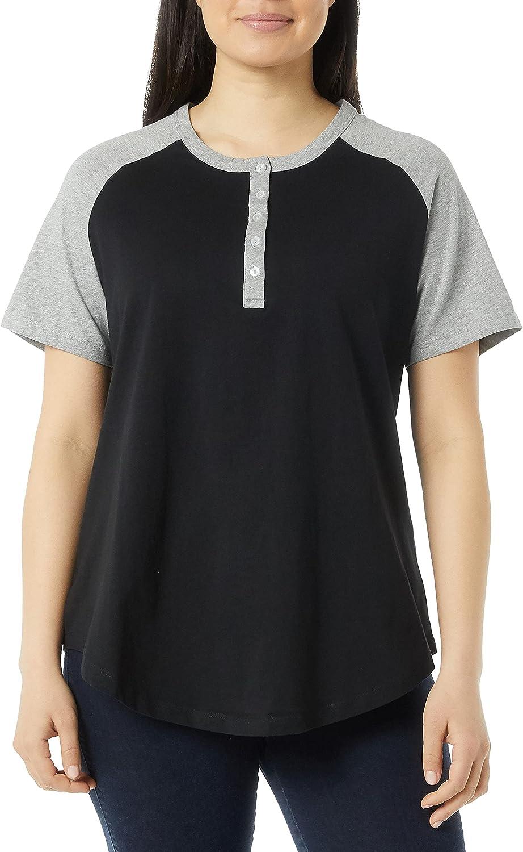 AmeriMark Womens Henley Baseball Shirt Tunic Top Contrast Sleeves