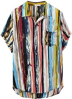 Polo Shirt for Men, F_Gotal Men's T-Shirts Summer Short Sleeve Baggy Solid Cotton Linen Button Down Retro Blouse Tops