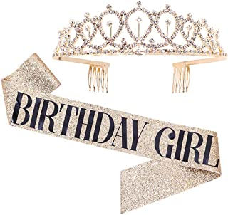Birthday Girl Sash & Rhinestone Tiara Kit - Gold Glitter Birthday Gifts Birthday Sash for Women Birthday Party Supplies