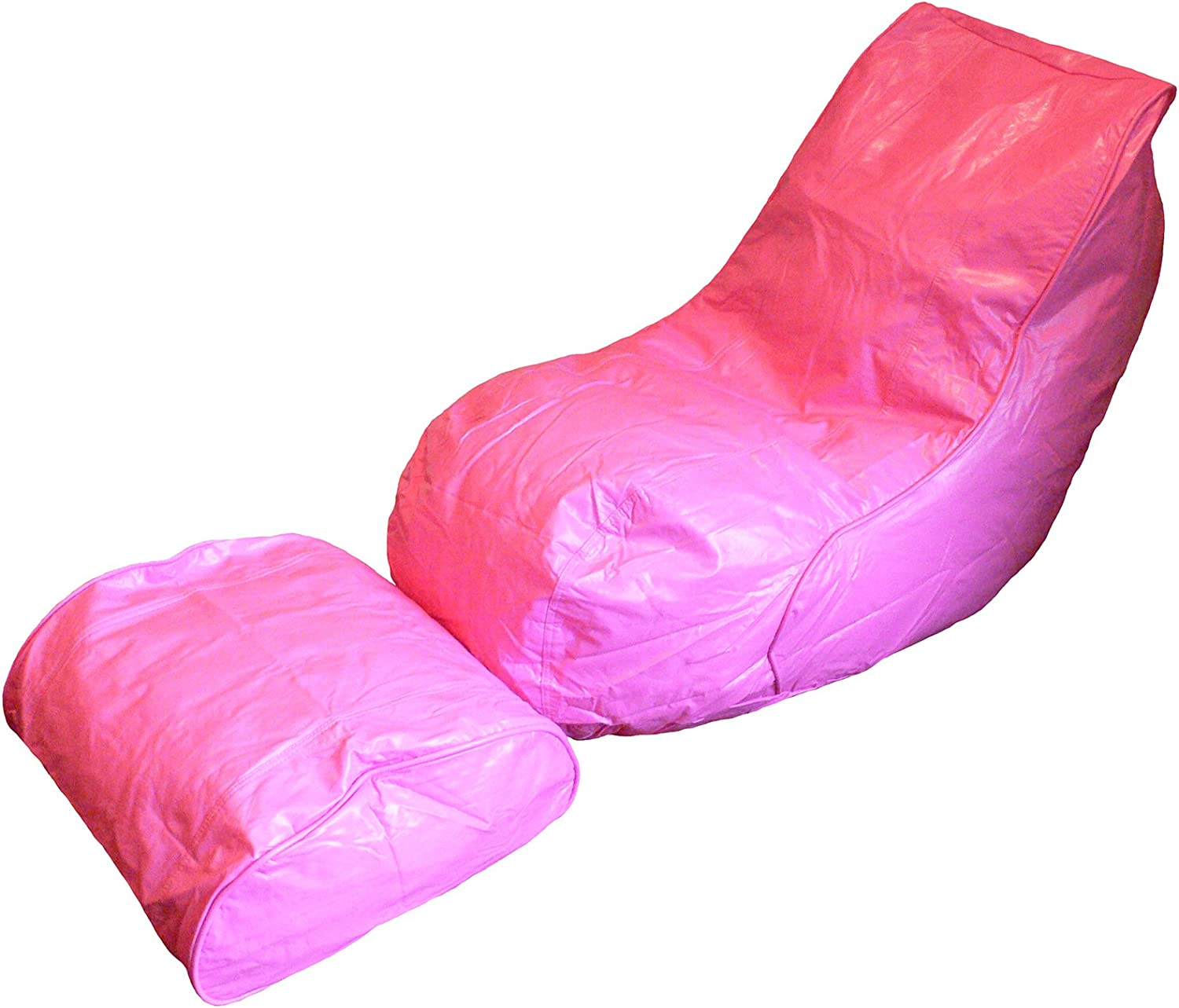 Boscoman - Vinyl Beanbag Adult Lounger w footrest Chair - Pink (BOX L)
