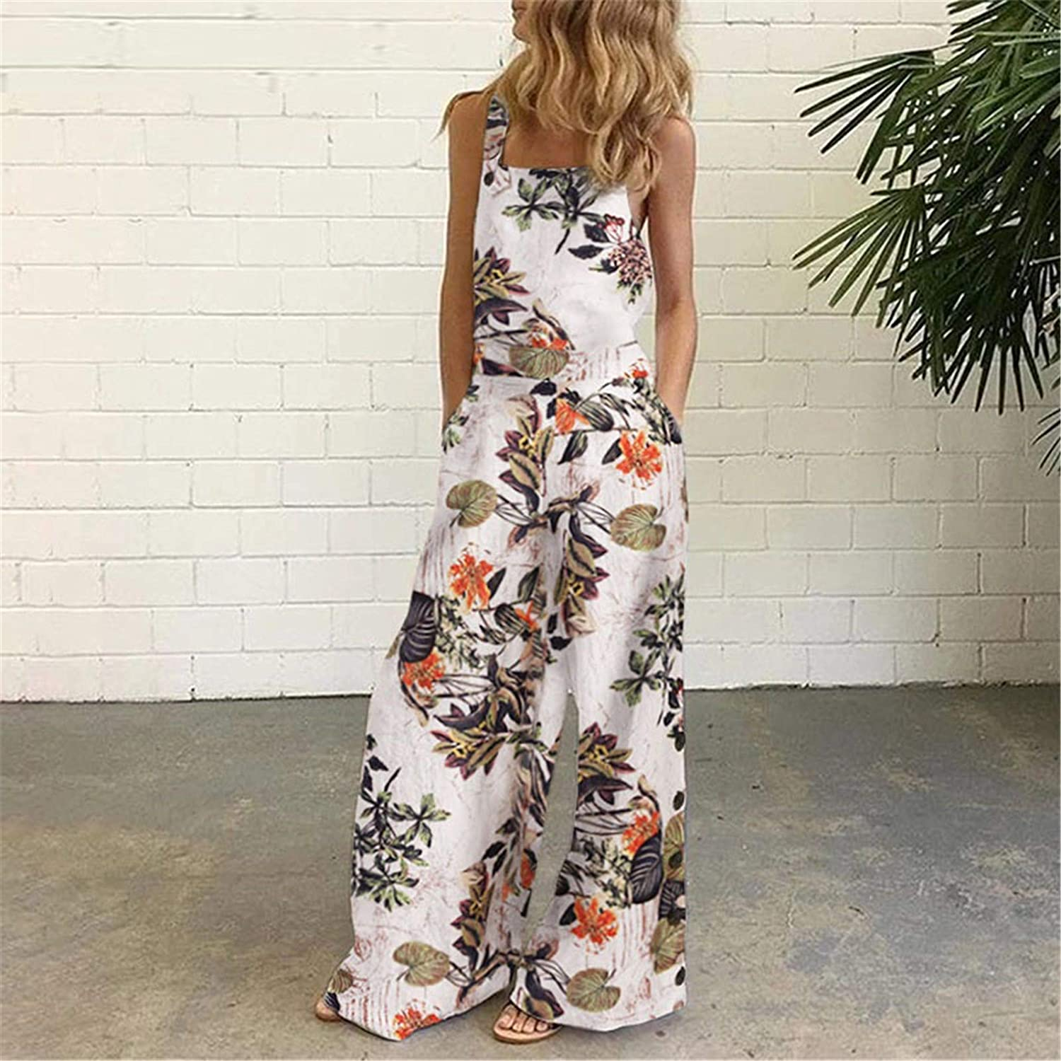 WUAI-Women Floral Printed Jumpsuits Summer Sleeveless Wide Leg Pants Rompers Loose Casual Jumpsuit Overalls Plus Size