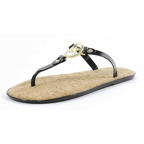 8216d8c80869 Michael Kors Womens MK Charm Jelly Sandal Black Gold Hardware 8 M US