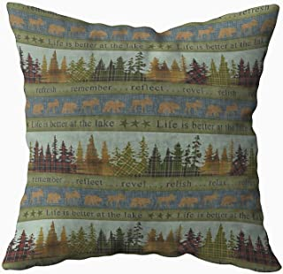 Musesh Lake Lodge Cabin Cushions Case Throw Pillow Cover for Sofa Home Decorative Pillowslip Gift Ideas Household Pillowcase Zippered Pillow Covers 18X18Inch