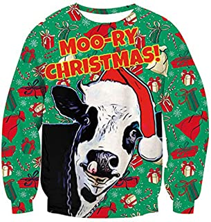 123954259927b Pull Moche Noël Homme Imprimé Créatif Drôle Chien Unisexe Femme Sweat-Shirt  Col Rond Pull