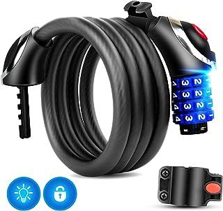 Bloqueo de la bicicleta con luz LED, 120 cm Cable de bloqueo de la bicicleta Basic Self Coiling Combinación reiniciable Bloqueo de cable de la bicicleta de 4 dígitos con soporte de montaje de cortesía