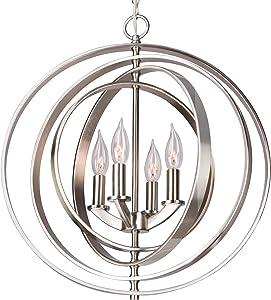 """Kira Home Orbits 18"""" 4-Light Modern Sphere/Orb Chandelier, Brushed Nickel Finish"""