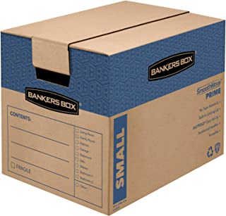 Bankers Box SmoothMove Prime Moving Boxes, Tape-Free, FastFold Easy Assembly, Handles, Reusable, Small, 12 x 12 x 6 Inches, 10 Pack (0062701)