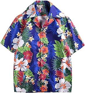 Floweworld Herrenmode Hemden Frühling und Sommer Paar Persönlichkeit gedruckt Bluse beiläufige kurzärmelige lose Oberteile Urlaub Strand Hawaii Shirts