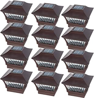 GreenLighting Bronze Aluminum Solar Post Cap Light - 4x4 Wood/5x5 PVC (12 Pack)