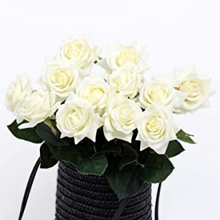 N YONGNUO 12pcs Latex Moisturizing Roses of Real Touch Natural Artificial Flowers Open White Roses Realistic Color for Wedding/Home Decor or As a Gift to Wife/Mother/Friend(19 Inch-White)