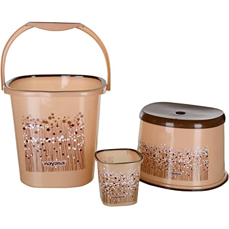 Nayasa Funk Square 3 Pcs Bathroom Set(Bucket 25L+Mug 1.5L+Stool) Brown