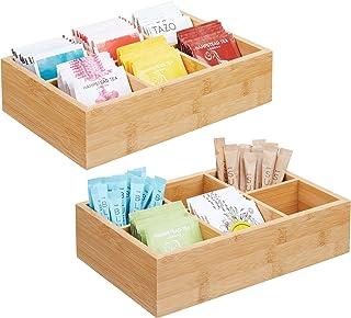 mDesign boîte en bambou pour sachets de thé, épices, sucre, etc. – caisse de rangement compacte pour la cuisine – boîte en...