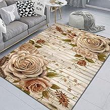 LHGBGBLN 3D Printing Carpet Wood Board Rose Art Bedroom Living Room Anti-Slip Mat Corridor Floor Mat Door Mat Flower Carpe...
