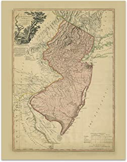 New Jersey Vintage Map Circa 1778-11 x 14 Unframed Print - Great Housewarming Gift. New Jersey Themed Office Decor.