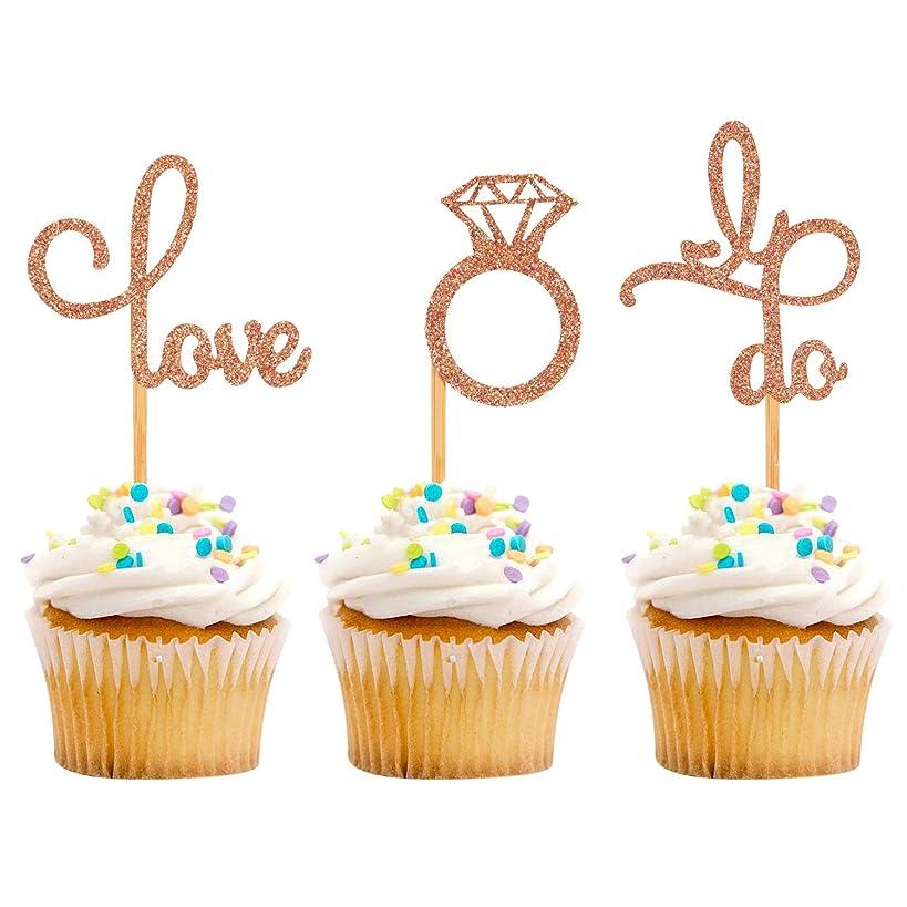 iMagitek 30 Pack Rose Gold Dimond Ring Love I Do Cupcake Toppers for Bridal Shower, Wedding, Hen Party, Engagement
