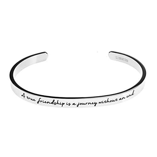 Zoey Jewelry A True Friendship Is Journey Without An End Premium Stainless Steel Cuff