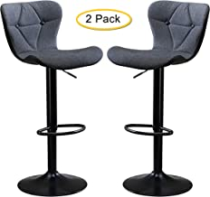 Adjustable Height Bar Stool Seat | Modern Airlift Swivel Barstool | Mid-Back Padded Chair for High Ergonomic Seating | Hea...
