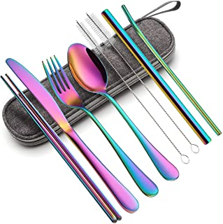 ست ظروف قابل حمل ، سرویس کارد و چنگال مسافرتی یکبار مصرف با ست ظروف سفارشی از جنس استنلس استیل مخصوص کمپینگ 8 عدد شامل چاقوی چاقوی چاقوی قاشق چوب دست چوبی نوار چوبی Boba Straw (رنگین کمان)
