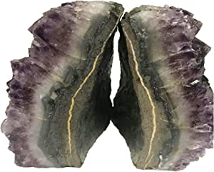 AMOYSTONE Amethyst Bookends Cut Cluster Polished for Office and Home Decorative 1 Pair with Rubber Bumpers 4 to 6 lbs