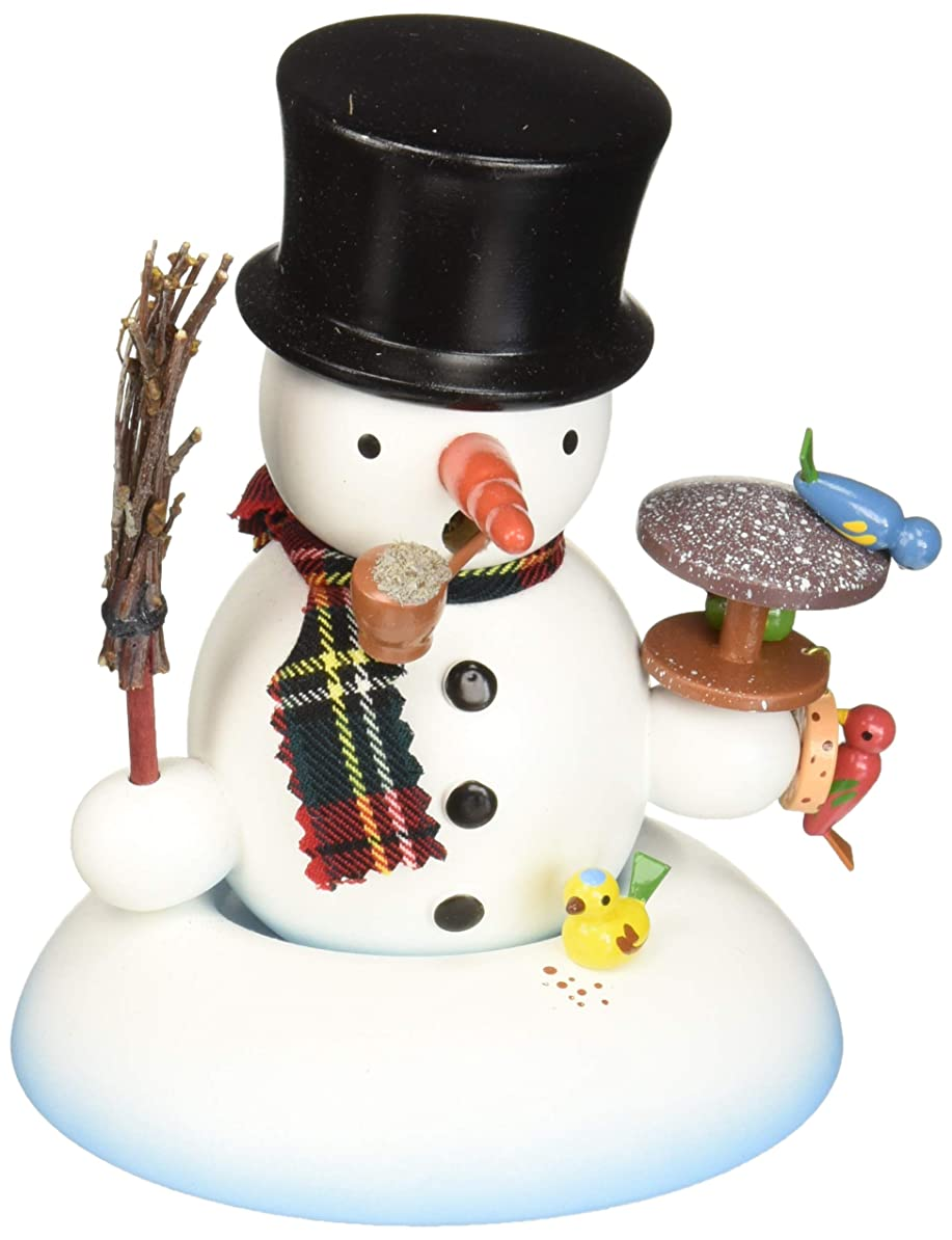 七時半量年Alexandor TaronホームDecor Dregeno Snowman with Birds Incense Burner 5.5?