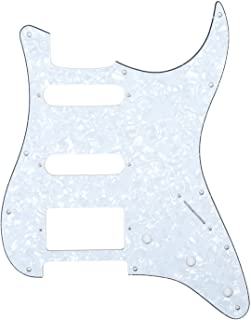 Musiclily HSS 11 Hole Strat Guitar Pickguard Scratch Plate for Fender USA/Mexican Made Standard Stratocaster Modern Style Parts,4Ply White Pearl
