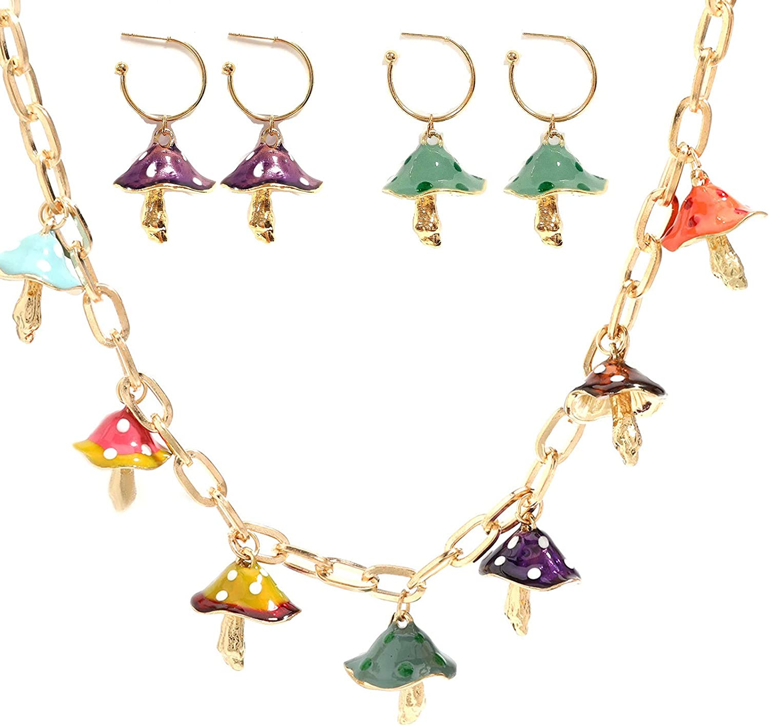 Harajuku Cute Colorful Musheroom Shape Necklace Drop Max 44% OFF and Pendant Manufacturer direct delivery