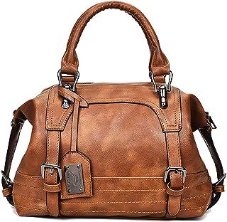 Tisdaini Damen Umhängetasche Retro Mode Handtasche Braun