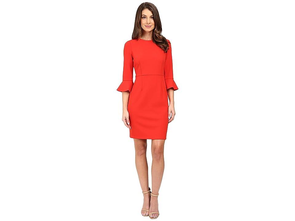 Donna Morgan 3/4 Bell Sleeve Sheath Dress (Tincture Red) Women