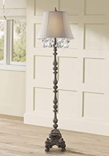 Duval French Traditional Floor Lamp Distressed Candlestick Crystal Glass Beading Cream Bell Shade for Living Room Reading - Barnes and Ivy