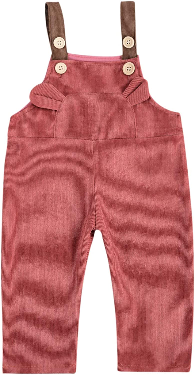 Kids Toddler Baby Girl Boy Solid Color Corduroy Overalls, Suspender Pants Bib Trousers Bottom Fall Winter One Piece Outfit