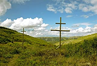 AOFOTO 5x3ft Wooden Cross On Mountain Meadow Backdrop Orthodox Christian Cemetery Crucifix Outdoor Rural Landscape Photography Background Jesus Christ Photo Studio Props Religion Culture
