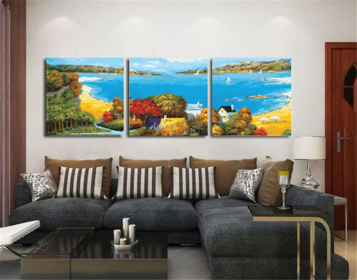 YEESAM Art New Paint by Numbers for Adults 3 Piece Pack Panel - Beach and Forest 16x16 inch Linen Canvas - DIY Painting Three Pieces Multipack Wall Art (with Frame)
