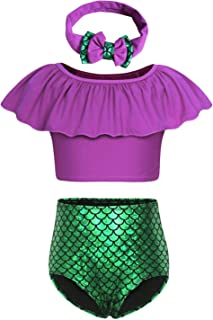 95600f442a63e AmzBarley Little Mermaid Swimsuits for Girls Princess Ariel Costume Bikini  Set Bathing Suit Tankini Swimwear 1