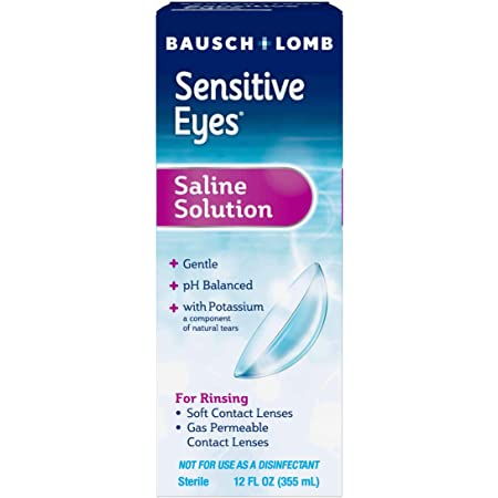 Contact Lens Solution by Bausch & Lomb, Saline Solution for Sensitive Eyes, for Soft Contact & Gas Permeable Lenses, 12 Fl Oz
